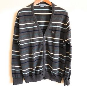 Lacoste Brown w/ Stripes Size 6 Mens Cardigan